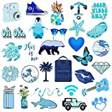VSCO Stickers for Hydro Flask , 50 pcs Blue Waterproof Water Bottle Stickers for Hydroflasks, Laptop, Phone, Luggage, Skateboard, Guitar, Cute Vinyl Trendy Aesthetic Stickers for Girls, Kids, Teens