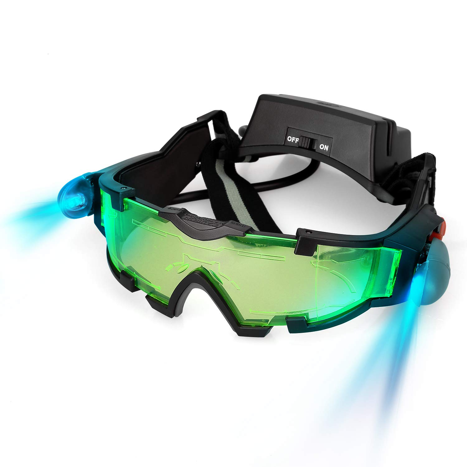 AGM Spy Night Vision Goggles, Adjustable Discovery Kids Night Goggles with Flip-Out Lights Green Lens