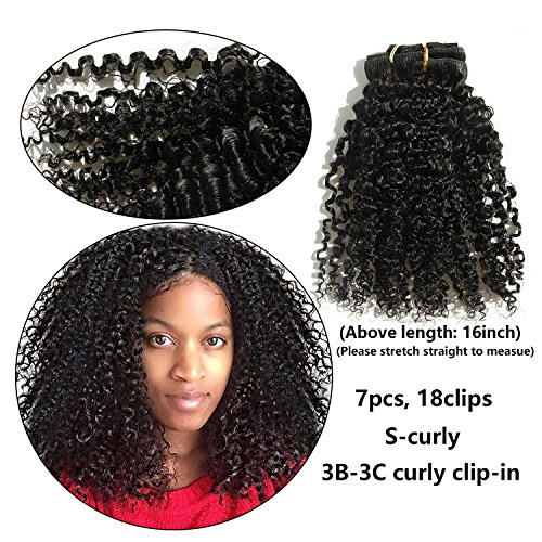 """Search : Ms Fenda Brazilian Remy Virgin Hair Kinky Curly Natural Color African American Clip In Hair Extensions 120Gram 7Pcs/Set (22"""", 120Gram/Set)"""