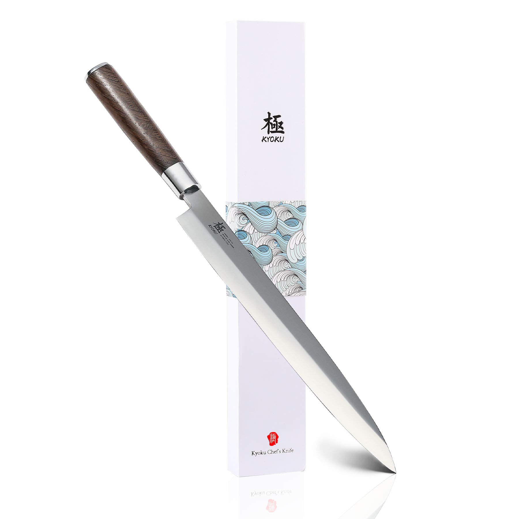 KYOKU Samurai Series - 10.5'' Yanagiba Knife Japanese Sushi Sashimi Knives - Superior Japanese Steel - Wenge Wood Handle - with Sheath & Case by KYOKU