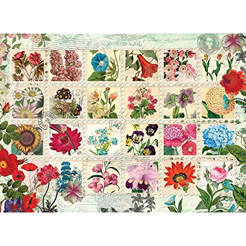 Bits and Pieces - 500 Piece Jigsaw Puzzle for Adults - Flower Stamps Quilt - 500 pc Collage Jigsaw by Artist Aimee Stewart
