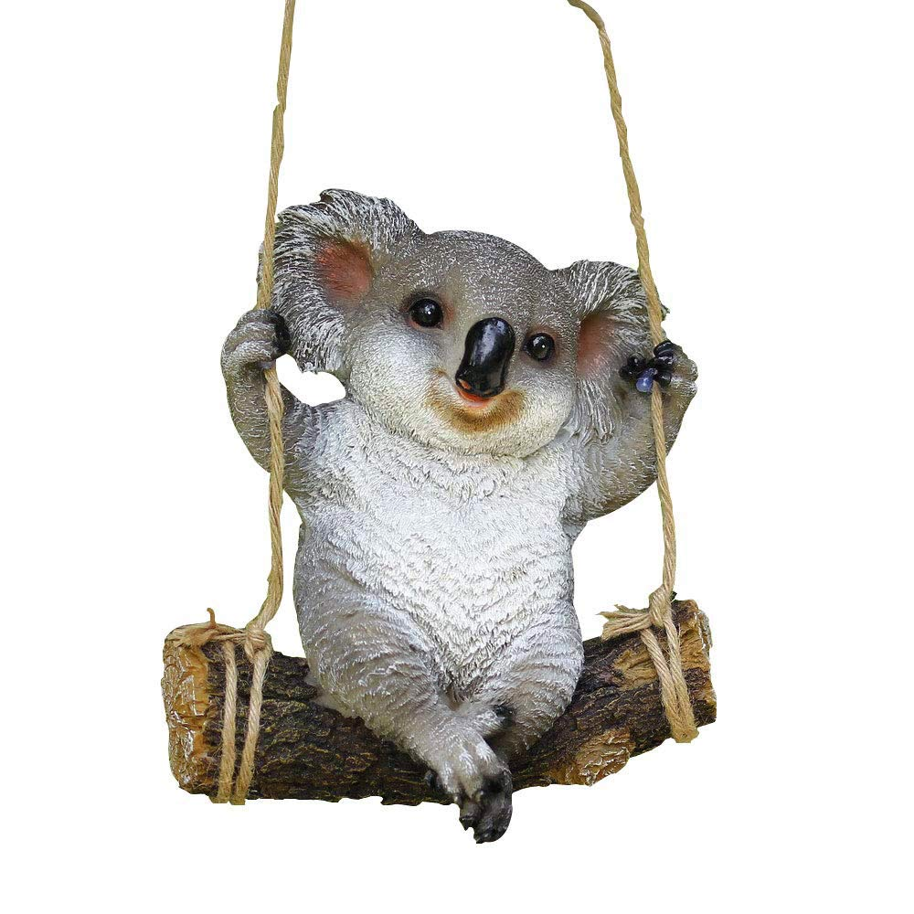 Animal Garden Statue - Cute Swing Koala Bear - Funny Outdoor Sculpture Ornaments Décor - Best Indoor Outdoor Statues Yard Art Figurines for Patio Lawn House