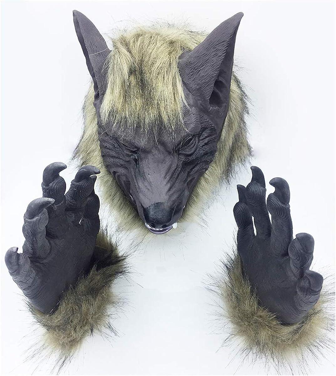 Wolf Head Mask Halloween Costumes Werewolf Mask Werewolf Gloves Animal Latex New