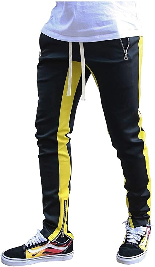 VITryst Men's Stretchy Skinny Tapered Drawstring Zip Striped Harem Pants