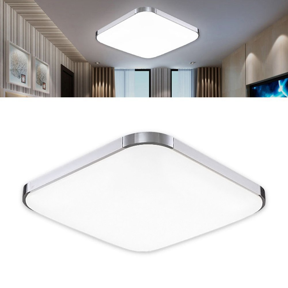 huge selection of 689ec 457a6 24W LED Ceiling Light 39x39x9cm Ultra-thin Modern Silver Cool White Super  Bright Square Lamp for Living Room Bathroom Bedroom Dining Room