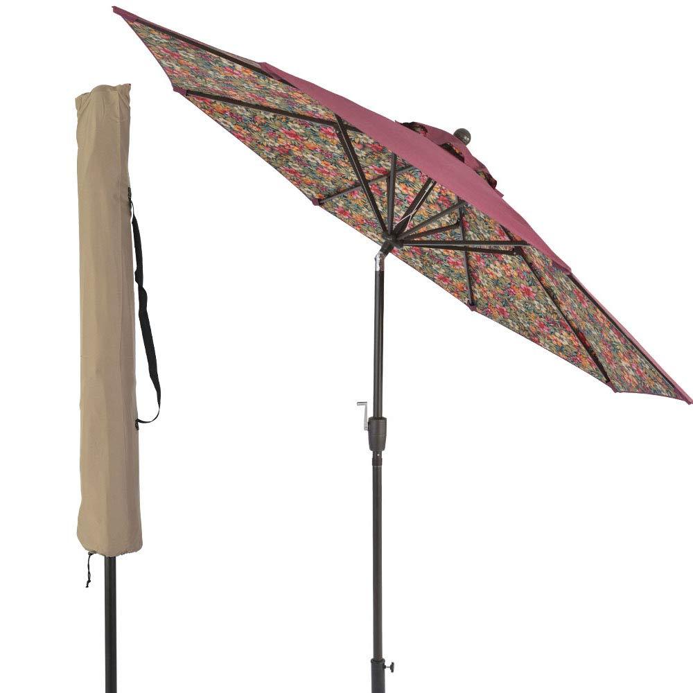 LCH Novelty Design 9 ft Outdoor Umbrella Patio Backyard Deck Table Umbrella Sturdy Pole, 8 Ribs, Crank Open, Push Button Tilting, Red-Floral