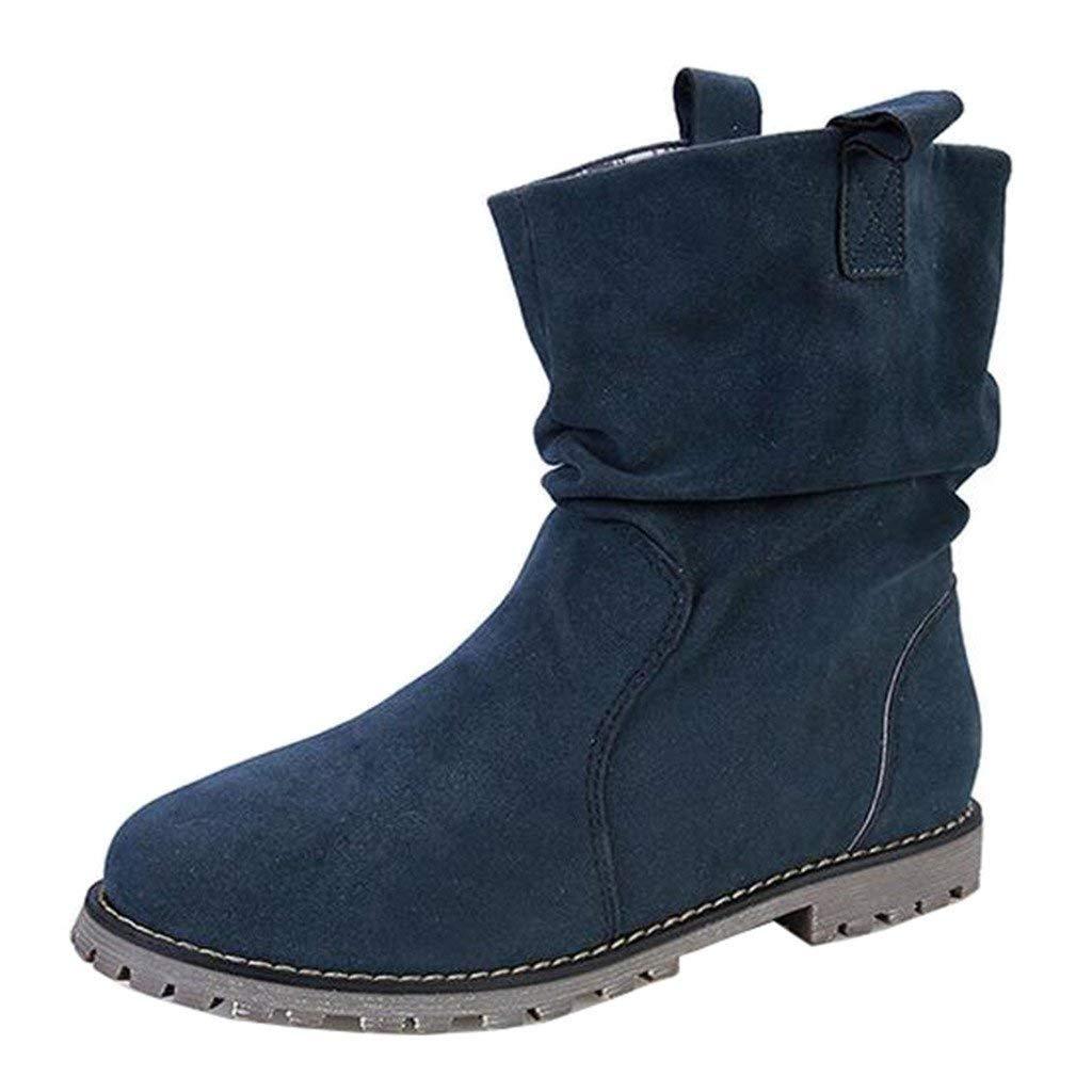 Qiusa Runde Slip-on Wildleder Slouch Slouch Slouch Stiefel für Damen (Farbe   Blau Größe   3 UK) 08930c