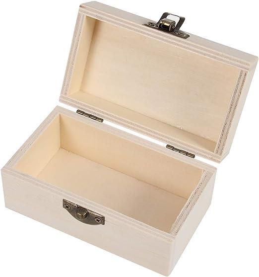 Vosarea - Joyero de Madera, Cofre del Tesoro, Caja de Almacenamiento para Joyas con Tapa y Cierre de Metal (Color Madera): Amazon.es: Hogar