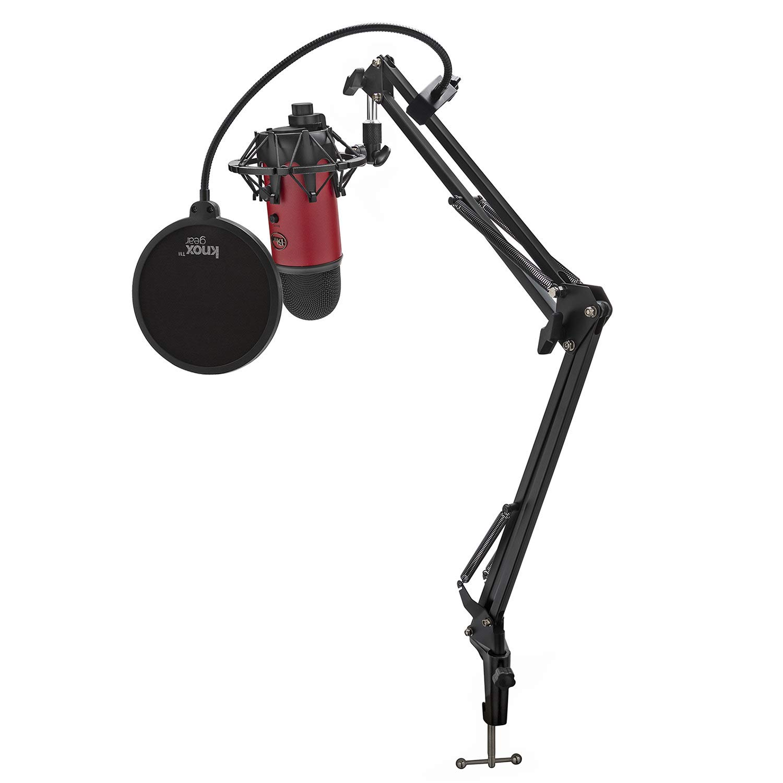 Microfono Usb Yeti Azul (rojo Satinado) Con Soporte De Choque Knox, Soporte De Estudio Y Filtro Pop