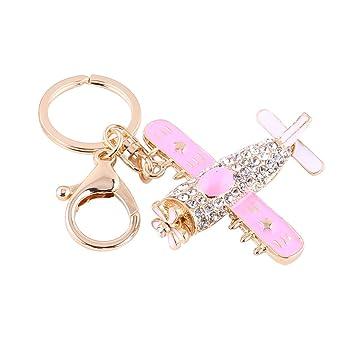 nette Caricatura Aviones Keychain llavero plana Flores Estrella de Cristal Dinero Bolsa Bolsillos colgante rosa: Amazon.es: Hogar