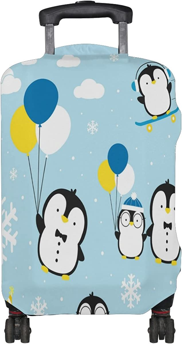 ALAZA Cute Penguin Balloon Snowflake Travel Luggage Cover Suitcase Cover Case