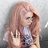 Heahair Fashion Color Blonde Straight Handited Syntheyic Lace Front Wig for Halloween (Peach Pink) For Sale