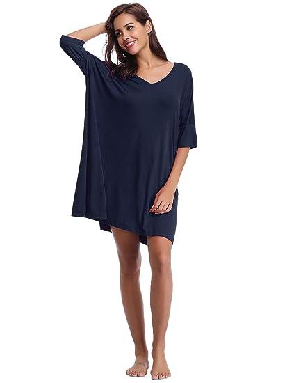 68160349678093 Abollria Damen Nachthemd Loose Fit Nachtwäsche Nachtkleid Kurz Baumwolle  Schlafshirt O-Ausschnitt Rock Schlanke Nachtwäsche