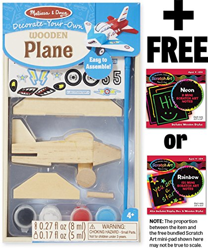 Melissa & Doug Wooden Airplane Decorate-Your-Own Kit + FREE Scratch Art Mini-Pad Bundle [95181]