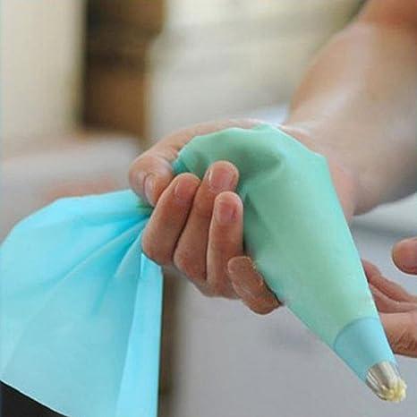 Manga pastelera de silicona reutilizables bolsas de manga pastelera crema DIY decorador de bolsas para pasteles pastillaje DIY herramientas small azul