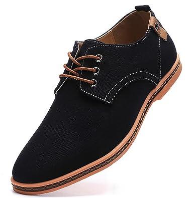 13924351a11d Amazon.com   DADAWEN Men's Casual Canvas Lace Up Oxfords Shoes   Oxfords