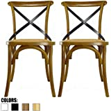 2xhome - Set of Two (2) - Walnut - Cross Back Chair CrossBack Solid Real Wooden Frame Antique Style Dining Chair Side Accent Chair with Soft Woven Seat…