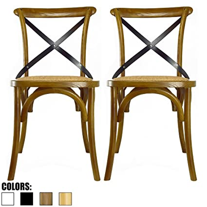 2xhome Set Of 2 Walnut Mid Century Modern Farmhouse Antique Cross Back Chair  With X Back
