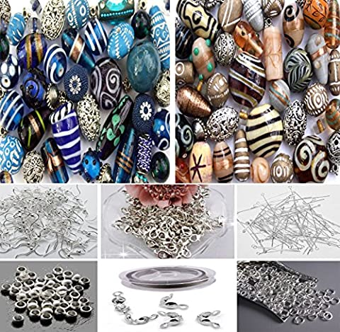 Approx X 400 Jewelry Making Wooden Glass Tibetan Beads Mix in Blue Cream & Jewelry Findings - Beads And Findings