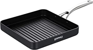 EPPMO 10 Inch Hard-Anodized Aluminum Square Griddle, Nonstick Frying Pan, Stainless Steel Handle, Dishwasher & Oven Safe