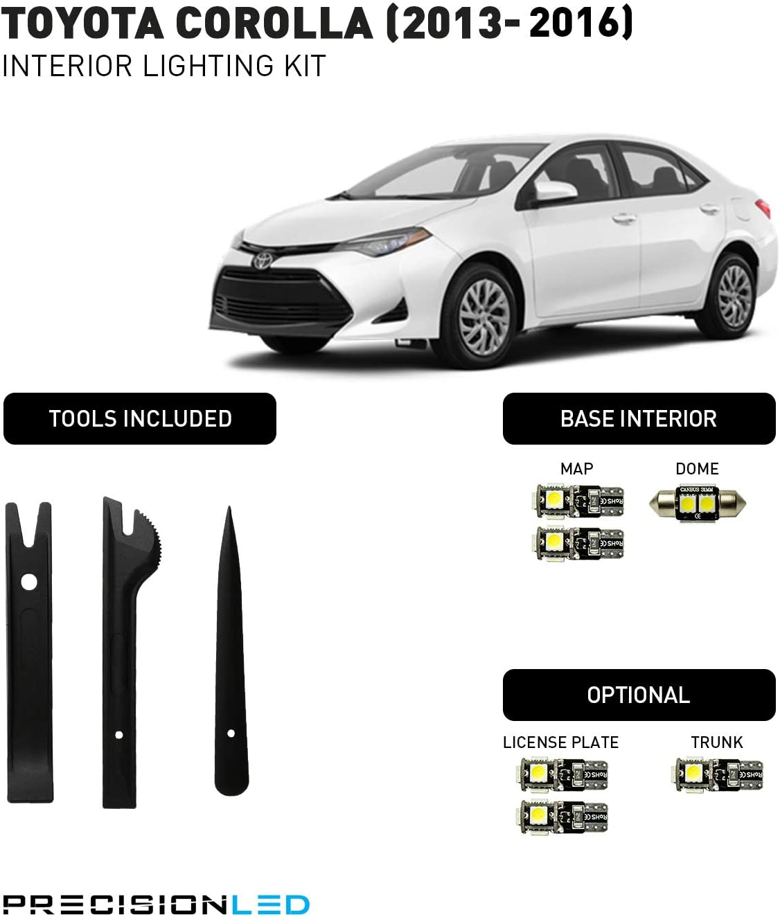 Install Tool AUTOGINE 6 Piece White Interior LED Lights Kit for Toyota Corolla 2013 2014 2015 2016 2017 2018 2019 Super Bright 6000K LED Interior Light Bulbs Package