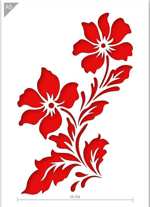 QBIX Plantilla de Flores - Plantilla de Flores Silvestres - Plantilla de Dos Flores - Tamaño A5 - Plantilla Reutilizable amigable para niños DIY para Pintar, Hornear, Manualidades, Paredes, Muebles: Amazon.es: Hogar