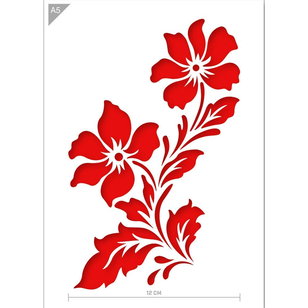 Qbix Flower Stencil - Wildflowers Stencil - Two Flowers Stencil - A5 Size - Reusable Kids Friendly DIY Stencil for Painting, Baking, Crafts, Wall, Furniture