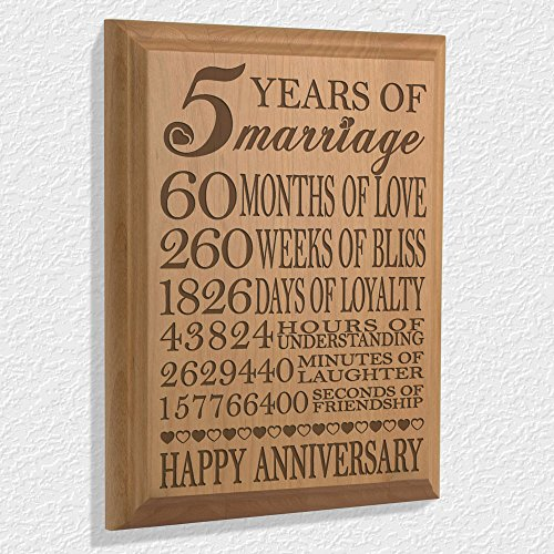 Five Year Wedding Anniversary Gift For Husband: 5th Anniversary Engraved Natural Wood Plaque