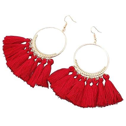 Boutique en ligne bf4ad a7af3 Qiao Nai TM Mujeres Pendientes Largos Colgantes Círculo Grande Borla Moda  Bohemia Aretes (Rojo)
