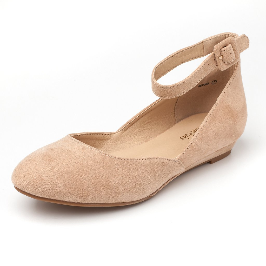 DREAM PAIRS Women's Revona Nude Suede Low Wedge Ankle Strap Flats Shoes - 9 B(M) US