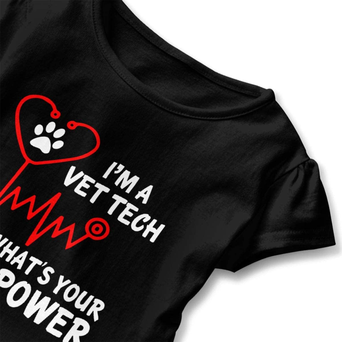 Im A Vet Tech Whats Your Superpower Shirt Baby Girls Ruffles Cute Tee Shirts for 2-6 Years Old Baby