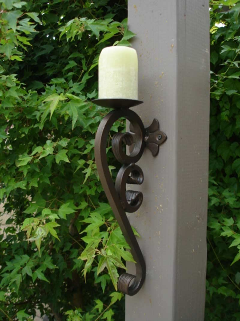 Shoreline Handmade Iron Wall Mounted Candle Holder//Sconce for Interior//Exterior use.-Antique Iron Patina