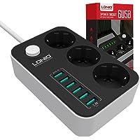 3-fack, omkopplingsbara uttag med 6 USB, (med strömbrytare och 1,6 m kabel, 2 500 W, 250 v), bärbar grenuttag, med USB…