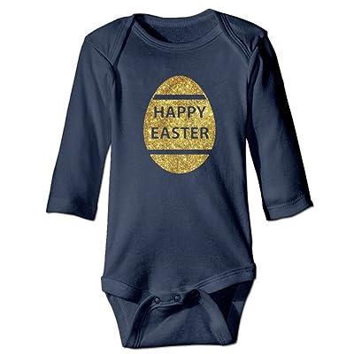 TREEWw Gold Happy Easter Baby Boys Girls Long Sleeve Bodysuits Romper