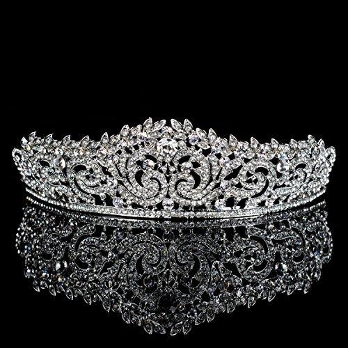 Topwedding Rhinestone Wedding Tiara Crown Headband Crystal Bridal Headpiece Pageant Hair Accessory for Women