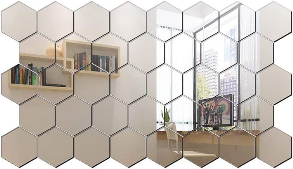 Hexagon Mirror Wall Sticker Tiles, 32 Pieces Removable Acrylic Mirror Setting Wall Sticker Non Glass Mirror Cute 3D Wall Stickers for Home Living Room Bedroom Decor (3.15 x 2.76 x 1.57 Inches Silver)