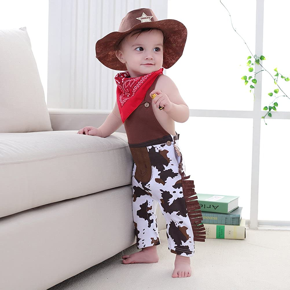Mays Baby Baby Toddler Boys The Cowboy Romper Onesie 3pcs Sets