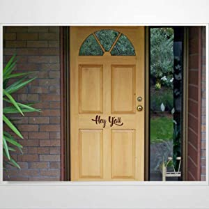 Decal PVC Wall Stickers & Murals,Hey Yall Front Door Yall House Greeting Hello Letters Welcome Country Theme Quote Southern Decor Art Wall Decal,Removable Home Decor Murals Poster for Bedroom, Livin