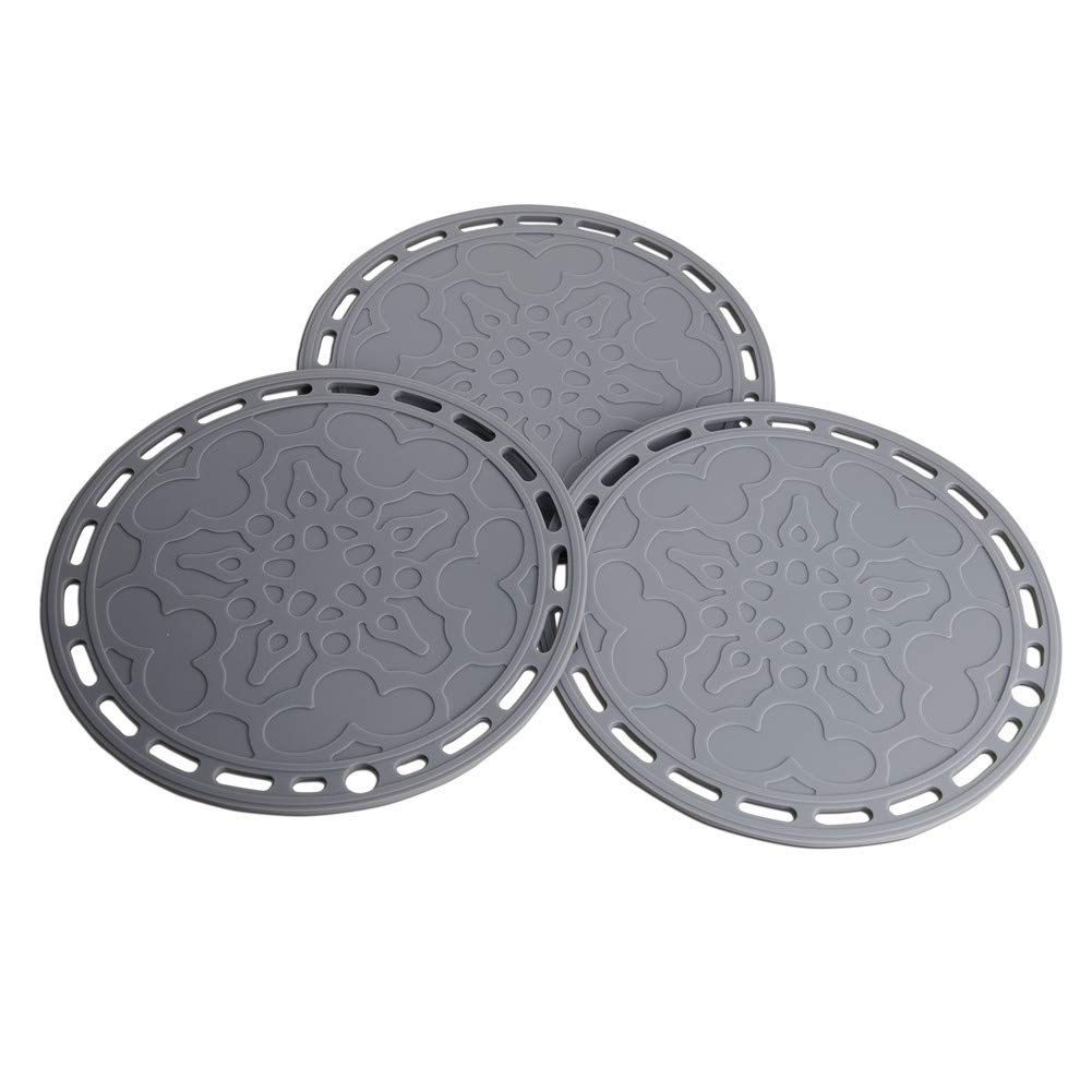 Lucky Plus Big Round Silicone Trivets Mats for Hot Dishes and Hot Pots, 2pcs Hot Pads for Countertops, Tables, Pot Holders, Spoon Rest Place Mats Set of 3 Color Gray