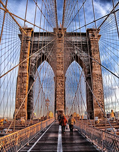 Brooklyn Bridge Suspension Bridge - Gifts Delight Laminated 24x30 inches Poster: Brooklyn Bridge Landmark Historic Bridge New York City Architecture Suspension Sky Clouds Urban People Walking