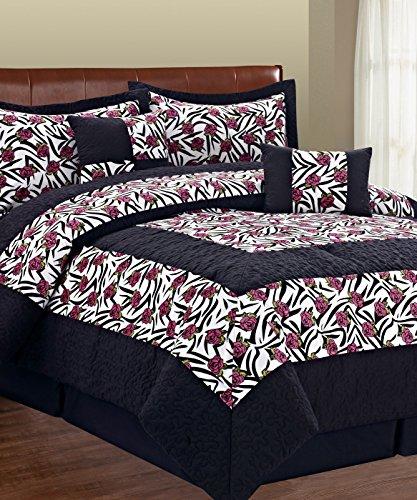 Serenta 6 Piece Animal Style Bed in a Bag Set, King, Zebr...