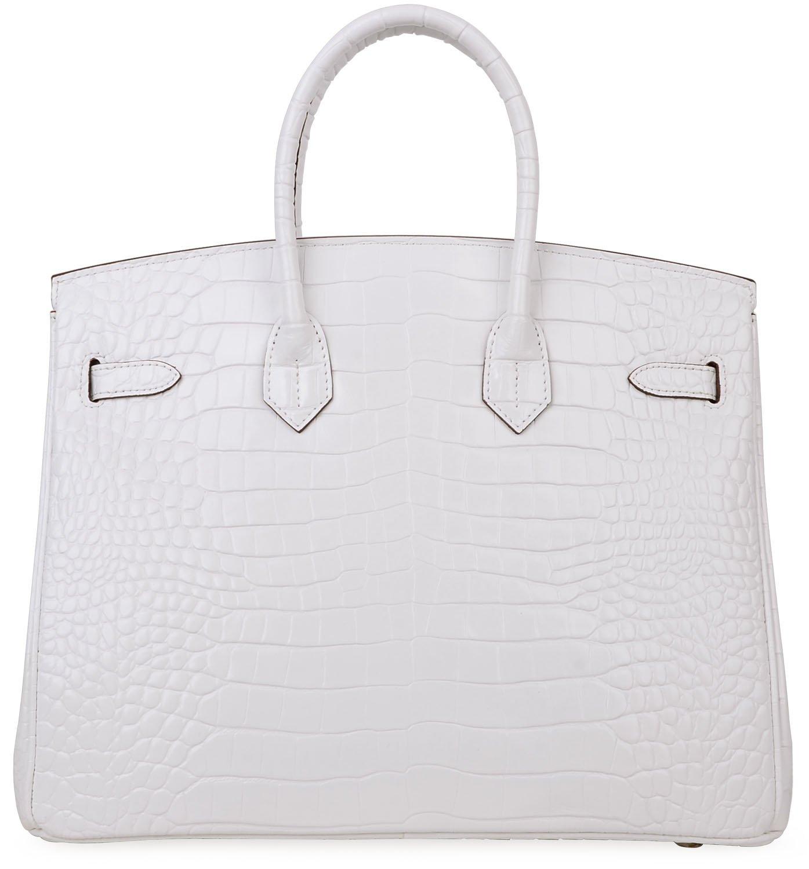Cherish Kiss Padlock Bag Women Crocodile Leather Top Handle Handbags (35cm, Pure white) by Cherish Kiss (Image #4)