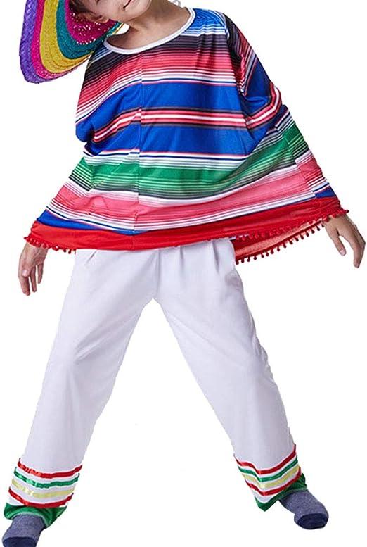 Amosfun Poncho y Pantalones Mexicanos para niños Disfraz de Sarape ...