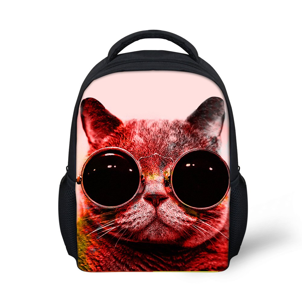 Hoijay Preschool Backpack, Little Kid Backpacks for Boys and Girls Sunglasses Cat