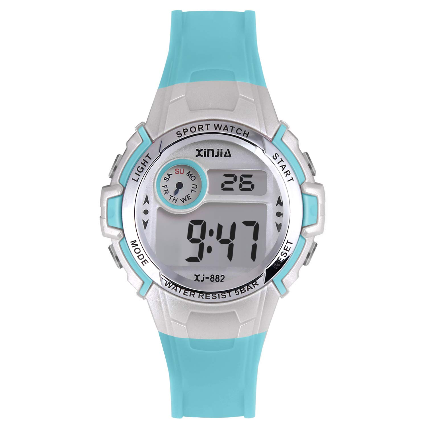 Kids Digital Watch for Boys Girls,Children 50M(5ATM) Waterproof Sports Outdoor LED Multi Functional Wrist Watches with Alarm for Children (Blue) by XINYIXING
