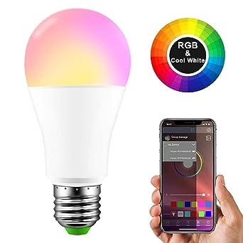 Bombilla LED Bluetooth, RGBW Luz LED inteligente Bluetooth E27 15W Control de música por voz