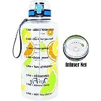 BuildLife Gallon Water Bottle with Time Marker & Strainer/Tracker (lemon)