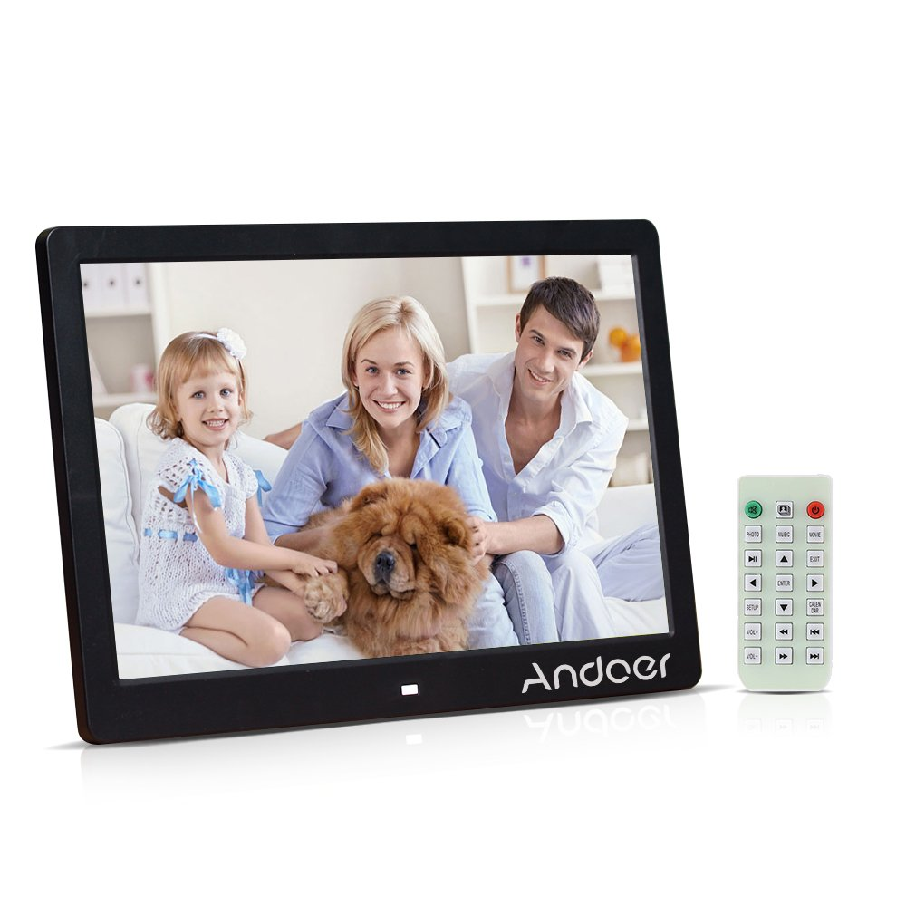 Andoer 13' TFT LED Digital Photo Picture Frame High Resolution 1280*800 Advertising Machine MP3 MP4 Movie Player Alarm Clock with Remote Control Gift Present