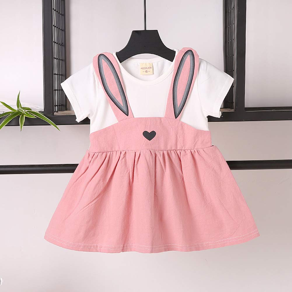 Easter Outfits Baby Girl Rabbit Dress Short Sleeve Causal Sundress Bunny Skirt Set Playwear Clothes