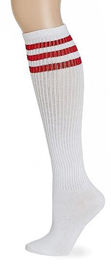 ea8c15209fd Amazon.com  Leotruny Classic Triple Stripes Knee High Tube Socks ...